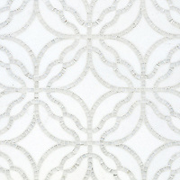 Claudette, a handmade mosaic shown in polished Afyon White and honed Thassos, is part of the Parterre Collection by Paul Schatz for New Ravenna.