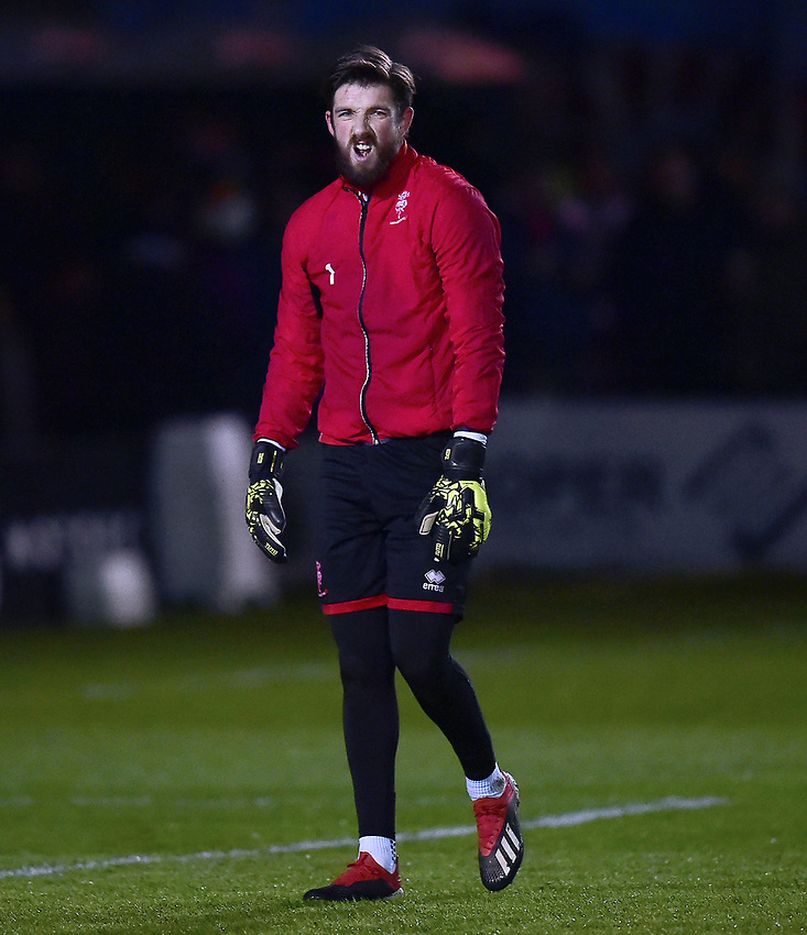 Lincoln City's Josh Vickers during the pre-match warm-up<br /> <br /> Photographer Andrew Vaughan/CameraSport<br /> <br /> The EFL Sky Bet League Two - Lincoln City v Yeovil Town - Friday 8th March 2019 - Sincil Bank - Lincoln<br /> <br /> World Copyright © 2019 CameraSport. All rights reserved. 43 Linden Ave. Countesthorpe. Leicester. England. LE8 5PG - Tel: +44 (0) 116 277 4147 - admin@camerasport.com - www.camerasport.com