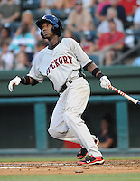 Infielder Jurickson Profar (10) of the Hickory Crawdads, Class A affiliate of the Texas Rangers, in a game against the Greenville Drive on July 1, 2011, at Fluor Field at the West End in Greenville, South Carolina. (Tom Priddy/Four Seam Images)
