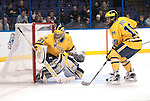 March 26,  2011                     Michigan goalie Shawn Hunwick (31) and Michigan forward Matt Rust (19) watch action behind the net in the second period.  The University of Michigan defeated Colorado College 2-1 in the championship game of the NCAA Division 1 Men's West Regional Hockey Tournament, on Saturday March 26, 2011 at the Scottrade Center in downtown St. Louis.