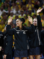 16.08.2015 Silver Ferns Maria Tutaia and Leana de Bruin recieve their silver medals during the Silver Ferns v Australia Gold Medal netball match at the 2015 Netball World Cup at All Phones Arena in Sydney Australia. Mandatory Photo Credit ©Michael Bradley.