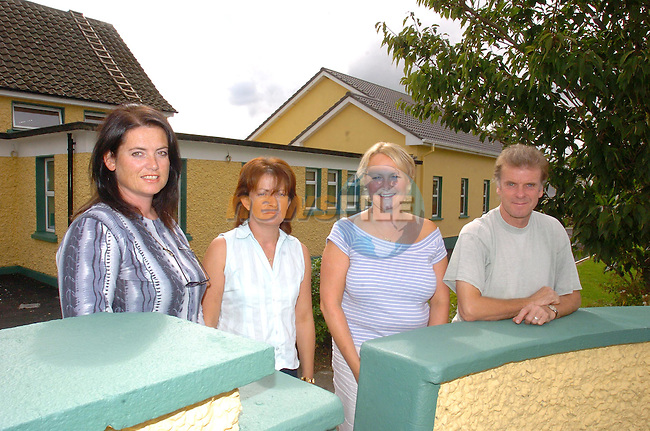 Bellewstown Parents Council Members Linda Donnelly, Grace O'Connell, Fiona Stewart O'Neillo and Barry Jones with the extenion to the school in the Background..Photo NEWSFILE/FRAN CAFFREY..(Photo credit should read FRAN CAFFREY/NEWSFILE)...This Picture has been sent you under the condtions enclosed by:.Newsfile Ltd..the Studio,.Millmount Abbey,.Drogheda,.Co Meath..Ireland..Tel: +353(0)41-9871240.Fax: +353(0)41-9871260.GSM: +353(0)86-2500958.email: pictures@newsfile.ie.www.newsfile.ie.FTP: 193.120.102.198..This picture is from Fran Caffrey@newsfile.ie