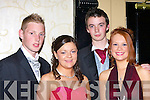 DEBS: Enjoying themselfs at the Vocational School, Abbeyfeale Debs on Thursday night in the Abbey Gate Hotel, Tralee, L-r : Thomas Young (Templeglantine), Stephanie Hartnett (Abbeyfeale), Leanne Pierse (Ballyduff) and Jonathan O'Connor (Duagh).............   Copyright Kerry's Eye 2008