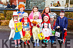 Cuillin Dineen, Clodagh O'SUllivan, Kreya O'Keeffe, Miriam O'Keeffe and Kieran Collins. Back row: Eoin Collins, Caoimhe Dineen, Anna McHugh and Carla Collins dressed up as book characters at the Rathmore St Patricks parade on Sunday