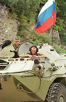 Ein Konvoi mit russischen KFOR-Soldaten faehrt in Richtung Kosovo, um in der deutschen KFOR-Zone stationiert zu werden.<br /> Hier: Ein russischen Radpanzer.<br /> Landstra&szlig;e Skopje-Blace/Mazedonien, 30.7.1999<br /> Copyright: Christian-Ditsch.de<br /> [Inhaltsveraendernde Manipulation des Fotos nur nach ausdruecklicher Genehmigung des Fotografen. Vereinbarungen ueber Abtretung von Persoenlichkeitsrechten/Model Release der abgebildeten Person/Personen liegen nicht vor. NO MODEL RELEASE! Don't publish without copyright Christian-Ditsch.de, Veroeffentlichung nur mit Fotografennennung, sowie gegen Honorar, MwSt. und Beleg. Konto: I N G - D i B a, IBAN DE58500105175400192269, BIC INGDDEFFXXX, Kontakt: post@christian-ditsch.de<br /> Urhebervermerk wird gemaess Paragraph 13 UHG verlangt.]