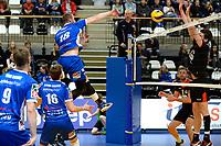 GRONINGEN - Volleybal, Lycurgus - Taurus, Alfa College, Eredivisie, seizoen 2017-2018, 04-11-2017,  smash van Lycurgus speler Dennis Borst