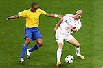 01 July 2006: Zinedine Zidane (FRA) (10) cuts the ball away from Gilberto Silva (BRA) (17). France defeated Brazil 1-0 at Commerzbank Arena in Frankfurt, Germany in match 60, a Quarterfinal game of the 2006 FIFA World Cup.