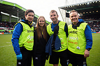 Rhodri Martin, Emma Hill, Byron Field and Joey Hayes of Bath Rugby pose for a photo after the match. Gallagher Premiership match, between Leicester Tigers and Bath Rugby on May 18, 2019 at Welford Road in Leicester, England. Photo by: Patrick Khachfe / Onside Images
