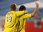 16 June 2007: Columbus's Alejandro Moreno (VEN) (r) and Robbie Rogers (19) celebrate Moreno's game tying goal in the 90th minute.  The New England Revolution tied the Columbus Crew 3-3 at Gillette Stadium in Foxboro, Massachusetts in a regular season Major League Soccer 2007 game.