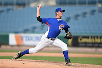 Samuel Bordner (37) of Bloom Carroll High School in Baltimore, Ohio playing for the Chicago Cubs scout team during the East Coast Pro Showcase on August 1, 2014 at NBT Bank Stadium in Syracuse, New York.  (Mike Janes/Four Seam Images)