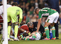 06/10/2016; 2018 FIFA World Cup Qualifier Republic of Ireland vs Georgia; Aviva Stadium, Dublin<br /> Ireland&rsquo;s Robbie Brady receives treatment for an injury.<br /> Photo Credit: actionshots.ie/Tommy Grealy