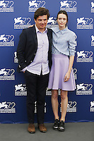 Nicolas Saada, left, and Stacy Martin attend a photocall for the movie 'Taj Mahal' during the 72nd Venice Film Festival at the Palazzo Del Cinema in Venice, Italy, September 10, 2015.<br /> UPDATE IMAGES PRESS/Stephen Richie