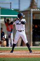 GCL Marlins Walner Espinal (14) at bat during a Gulf Coast League game against the GCL Astros on August 8, 2019 at the Roger Dean Chevrolet Stadium Complex in Jupiter, Florida.  GCL Astros defeated GCL Marlins 4-2.  (Mike Janes/Four Seam Images)
