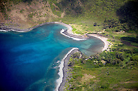 Molokai coastline and bay from the air. Molokai. Hawaii