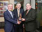 Pictured at the Limerick Sports Partnership Sports Awards were: winner Michael O Malley ( Right) Presented by Jim Upton and UL President Donn Barry<br /> Picture  Credit Brian Gavin Press 22