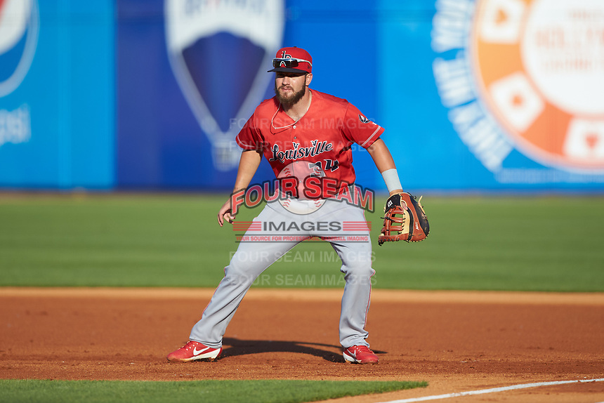 Louisville Bats first baseman D.J. Peterson (34) on defense against the Toledo Mud Hens at Fifth Third Field on June 16, 2018 in Toledo, Ohio. The Mud Hens defeated the Bats 7-4.  (Brian Westerholt/Four Seam Images)
