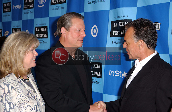 Al Gore and Tipper Gore with Ray Wise<br />at a Special Outdoor Screening of &quot;An Inconvenient Truth&quot;. Grand Performances, Los Angeles, CA. 06-24-06<br />Dave Edwards/DailyCeleb.com 818-249-4998