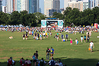 Crowds arrive for Austin's summertime concert series Blues on the Green, Zilker Park, Austin, Texas.