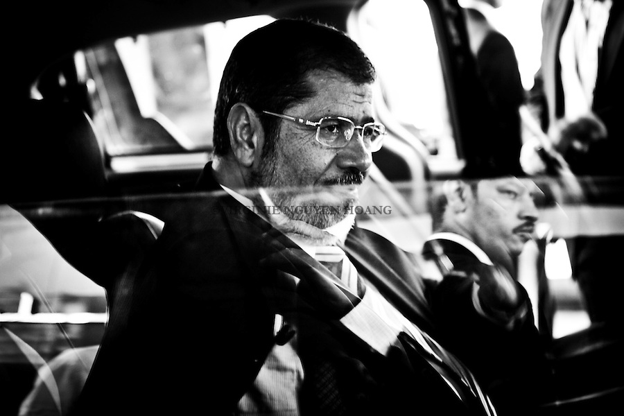 ©VIRGINIE NGUYEN HOANG/.Egypt,Cairo.2012..Mohamed Morsi is also seen as the one who was selected as the reserve candidate. He is a puppet of Khairat el-Shater (the  first choice  of the Muslim Brotherhood for president but was dismissed for having.criminal record).