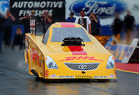Jan 23, 2009; Chandler, AZ, USA; NHRA funny car driver Jeff Arend launches off the starting line during testing at the National Time Trials at Firebird International Raceway. Mandatory Credit: Mark J. Rebilas-