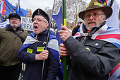 Bollocks to Brexit.  Pro Brexit protesters demonstrate outside the Houses of Parliament on the day MPs voted decisively to reject Theresa May's withdrawal deal with the EU.  Westminster, London.