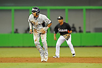 7 March 2012:  FIU shortstop Julius Gaines (2) takes a lead off of second base in the sixth inning as the Miami Marlins defeated the FIU Golden Panthers, 5-1, at Marlins Park in Miami, Florida.