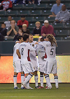 Real Salt Lake forward Robbie Findley (10) celebrates with his teammates after scoring a goal in the first half during a MLS game. Real Salt Lake defeated Chivas USA 1-0 at Home Depot Center stadium in Carson, California on Saturday, June 14, 2008.