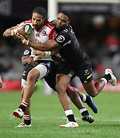 Lukhanyo Am of the Cell C Sharks looks to tackle Courtnall Skosan of the Emirates Lions during the Vodacom Super Rugby match between the Cell C Sharks and the Emirates Lions the at Growthpoint Kings Park in Durban, South Africa. 15th July 2017(Photo by Steve Haag)
