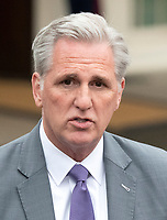 Incoming United States House Minority Leader Kevin McCarthy (Republican of California) meets reporters at the White House after meeting with US President Donald J. Trump on border security and reopening the federal government at the White House in Washington, DC on Wednesday, January 2, 2018.<br /> Credit: Ron Sachs / CNP/AdMedia