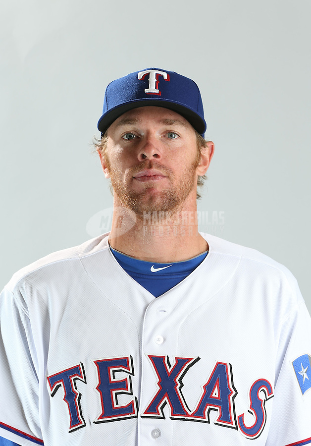 Feb. 20, 2013; Surprise, AZ, USA: Texas Rangers pitcher Collin Balester poses for a portrait during photo day at Surprise Stadium. Mandatory Credit: Mark J. Rebilas-