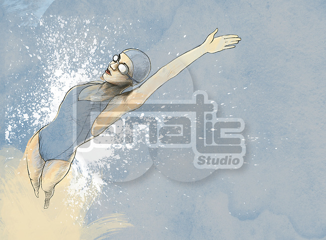 Illustrative image of woman swimming backwards