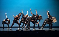 Pulse dance group became Pulse (After Dark) for an energetic performance on stage.<br /> Occidental College students perform and compete during Apollo Night, one of Oxy's biggest talent showcases, on Feb. 24, 2017 in Thorne Hall. Sponsored by ASOC and hosted by the Black Student Alliance as part of Black History Month.<br /> (Photo by Marc Campos, Occidental College Photographer)