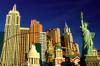 Las Vegas, NV, New York-New York, casino, Nevada, The Strip, Replica of the Statue of Liberty, Empire State Building and other landmarks at New-York New-York Hotel & Casino on The Strip in Las Vegas, the Entertainment Capital of the World.