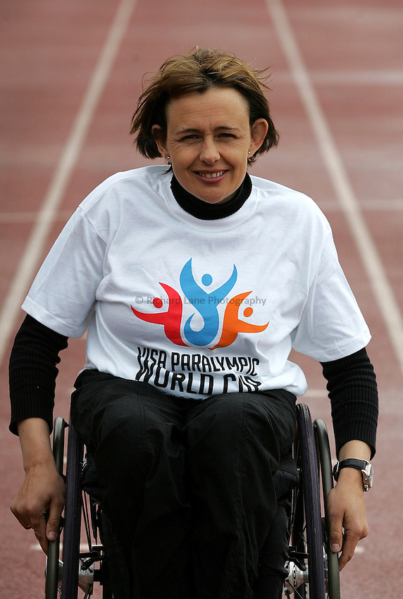 Photo: Paul Thomas..VISA Paralympic World Cup 2007. 08/05/2007...Britain's most successful Paralympian, Dame Tanni Grey-Thompson, holds a press conference and photo-shoot ahead of her last ever International competition in Manchester this Sunday.