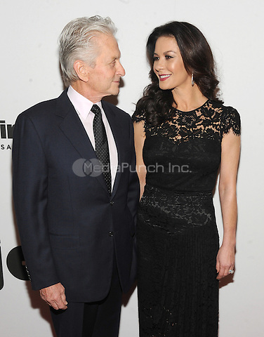 NEW YORK, NY - DECEMBER 16: Actors Michael Douglas  and Catherine Zeta-Jones attend the opening of the Mica and Ahmet Ertegun Atrium at Jazz at Lincoln Center on December 17, 2015 in New York City.  Photo Credit: John Palmer/MediaPunch