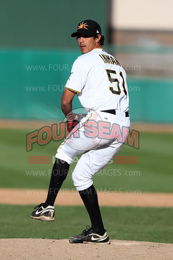 Mesa Solar Sox pitcher Jeff Inman #51 during an Arizona Fall League game against the Phoenix Desert Dogs at HoHoKam Park on November 3, 2011 in Mesa, Arizona.  Mesa defeated Phoenix 8-7.  (Mike Janes/Four Seam Images)