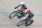 September 17, 2015 - Colorado Springs, Colorado, U.S. - Marian University's, Corrie Karas (l), and Mars Hill University's, Josie Ritchie (r), are at full speed as they round the final corner in match sprint qualifying  during the USA Cycling Collegiate Track National Championships, United States Olympic Training Center Velodrome, Colorado Springs, Colorado.