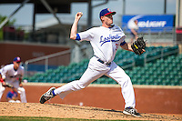 Cole Johnson (37) of the Chattanooga Lookouts pitches during a game between the Jackson Generals and Chattanooga Lookouts at AT&T Field on May 10, 2015 in Chattanooga, Tennessee. (Brace Hemmelgarn/Four Seam Images)
