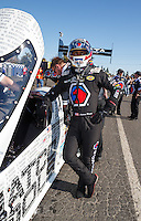 Feb 12, 2017; Pomona, CA, USA; NHRA top fuel driver Antron Brown during the Winternationals at Auto Club Raceway at Pomona. Mandatory Credit: Mark J. Rebilas-USA TODAY Sports