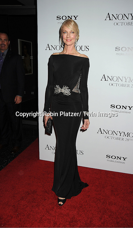 """actor Joely Richardson in Zuhair Murad black dress  attends the New York Special Screening of """" Anonymous"""" ..on October 20, 2011 at The Museum of Modern Art in New York City."""