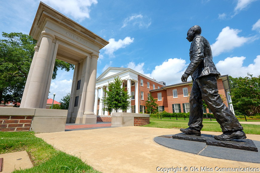 The statue of Meredith was introduced to the Ole Miss campus in 2006 as a symbol of racial integration on the campus.  The life-sized civil rights monument of the first African American student at the university, which stands in the heart of the campus between the Lyceum and the J.D Williams library. Photo by Robert Jordan/Ole Miss Communications