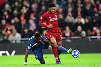 Crvena Zvezda's Richmond Boakye battles with Liverpool's Joe Gomez<br /> <br /> Photographer Richard Martin-Roberts/CameraSport<br /> <br /> UEFA Champions League Group C - Liverpool v Crvena Zvezda - Wednesday 24th October 2018 - Anfield - Liverpool<br />  <br /> World Copyright © 2018 CameraSport. All rights reserved. 43 Linden Ave. Countesthorpe. Leicester. England. LE8 5PG - Tel: +44 (0) 116 277 4147 - admin@camerasport.com - www.camerasport.com