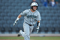 Hunter Ashburn (47) of the Coastal Carolina Chanticleers hustles down the first base line against the Duke Blue Devils at Segra Stadium on November 2, 2019 in Fayetteville, North Carolina. (Brian Westerholt/Four Seam Images)