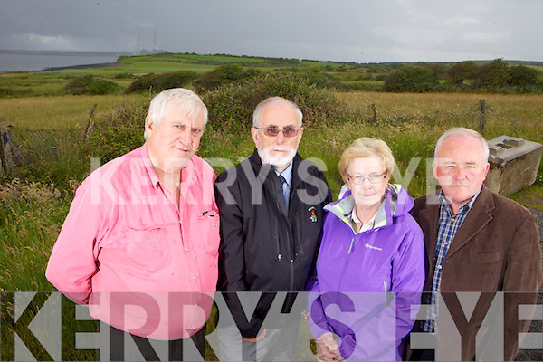Michael Finucane, John Fox, Joan Murphy and Noel Lynch from the Tarbert/Ballylongford LNG Liasion Group pictured on Wednesday at the proposed plant site at the Tarbert Ballylongford Landbank.