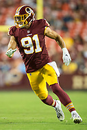 Landover, MD - August 24, 2018: Washington Redskins linebacker Ryan Kerrigan (91) rushes the passer during preseason game between the Denver Broncos and Washington Redskins at FedEx Field in Landover, MD. The Broncos defeat the Redskins 29-17. (Photo by Phillip Peters/Media Images International)