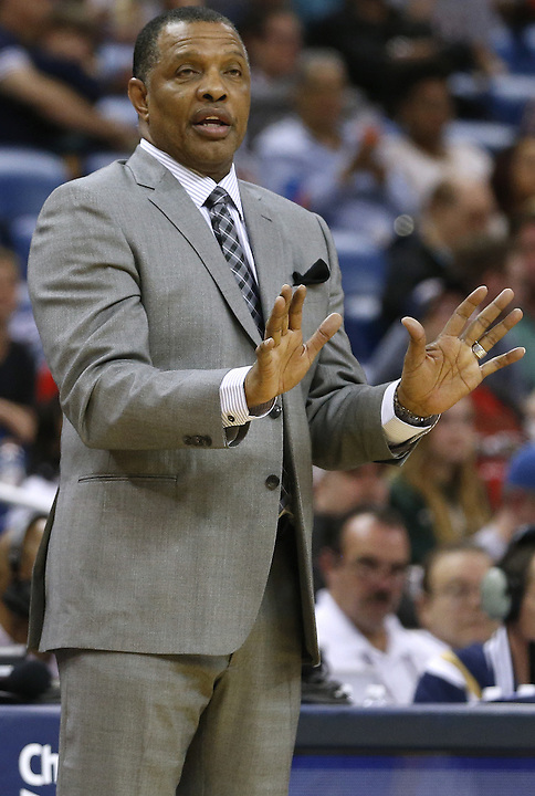 New Orleans Pelicans head coach Alvin Gentry reacts during the second half of an NBA basketball game against the Minnesota Timberwolves Saturday, Feb. 27, 2016, in New Orleans. The Timberwolves won 112-110. (AP Photo/Jonathan Bachman)