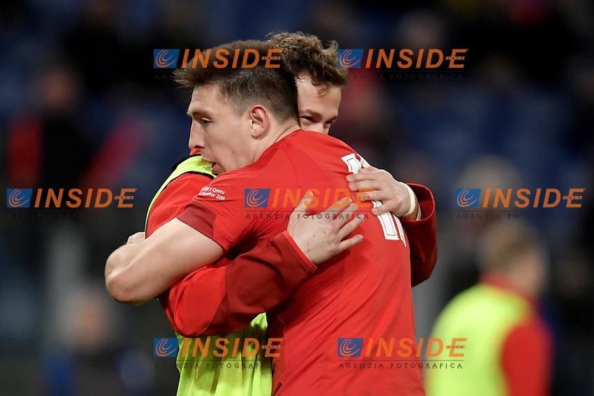 Celebrations after Try of Josh Adams Wales.<br />  <br /> Roma 9-02-2019 Stadio Olimpico<br /> Rugby Six Nations tournament 2019  <br /> Italy - Wales <br /> Foto Antonietta Baldassarre / Insidefoto