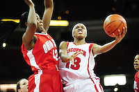 Wisconsin's Teah Gant goes in for a layup, as the Badgers take on Ohio State on Saturday at the Kohl Center in Madison, Wisconsin
