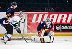 Stockholm 2014-08-21 Ishockey CHL Djurg&aring;rdens IF - Fribourg-Gotteron  :  <br /> Djurg&aring;rdens m&aring;lvakt goalkeeper Mikael Tellqvist  r&auml;ddar ett skott under matchen <br /> (Foto: Kenta J&ouml;nsson) Nyckelord:  Djurg&aring;rden Hockey Hovet CHL Fribourg Gotteron