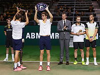 Rotterdam, The Netherlands, 18 Februari, 2018, ABNAMRO World Tennis Tournament, Ahoy, Doubles final, Left winners Pierre-Hugues Herbert (FRA) / Nicolas Mahut and right  (FRA), Oliver Marach (AUT) / Mate Pavic (CRO) in the middle tournament director Richard Krajicek<br />